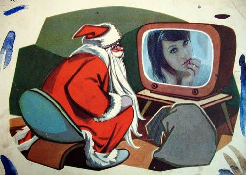 Рамка psd - Дедушка Мороз у телевизора