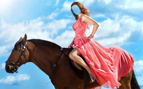 Шаблон для фотошопа - Верхом на лошади в платье
