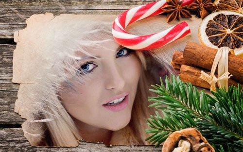 Рамка для фотографии - Праздничная открытка со сладостями и елкой