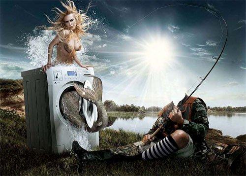 Шаблон psd - Креативный улов рыбака