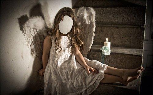 Шаблон для фотошопа - Девочка ангел на лестнице