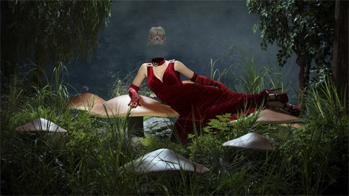 Шаблон для фотомонтажа - На сказочной поляне в бордовом красивом платье