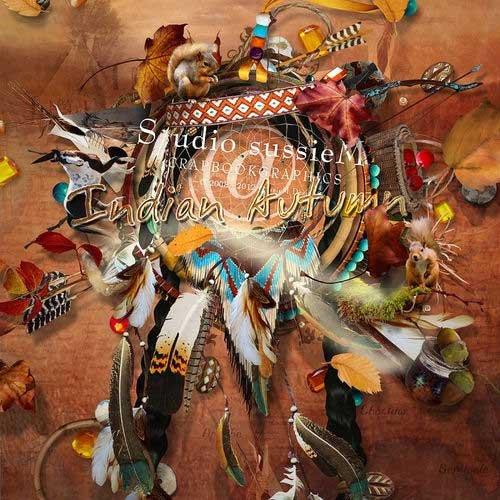 Красивый и оригинальный скрап-комплект - Индейская осень