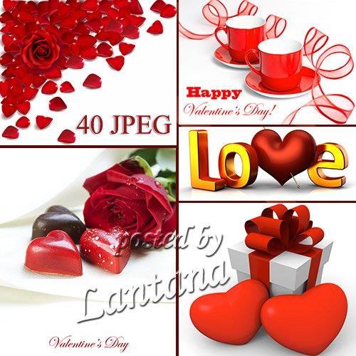 Растровый клипарт на белом фоне ко Дню Святого Валентина
