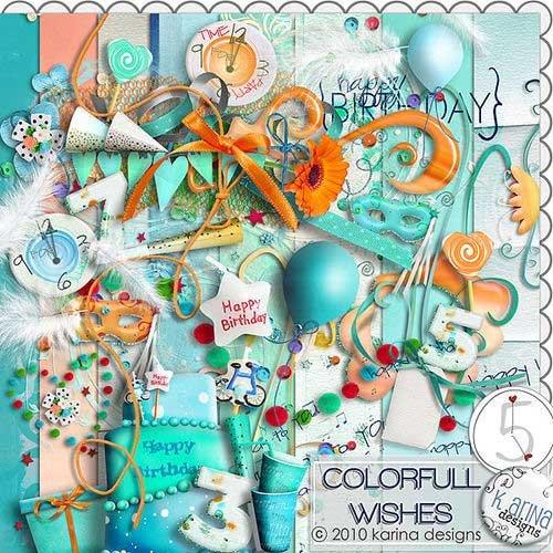 Праздничный скрап-комплект - Цветные пожелания