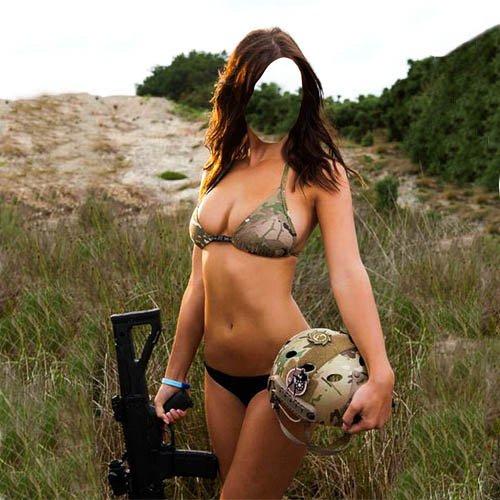 Шаблон для фото - Боевая девушка с автоматом в руках