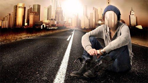 Шаблон для Photoshop - По дороге в большой город