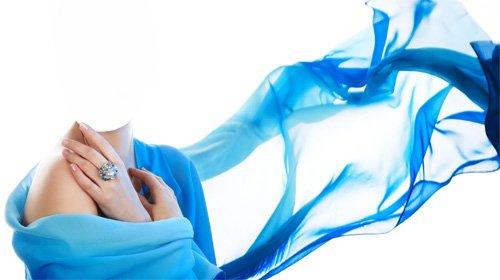 Шаблон psd женский - В красивом голубом платье