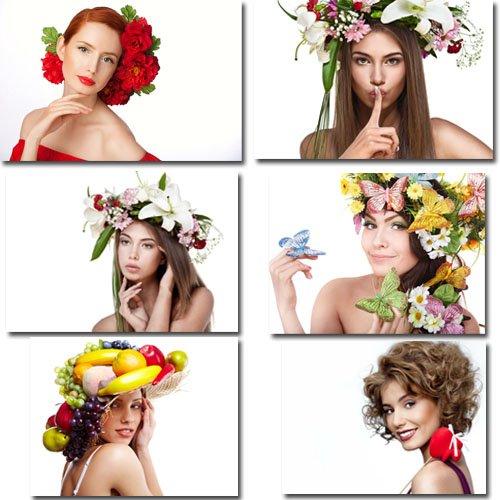 Клипарты для фотошопа - Двенадцать весенних девушек в цветах