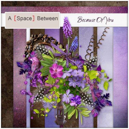 Яркий цветочный скрап-комплект - Благодаря тебе