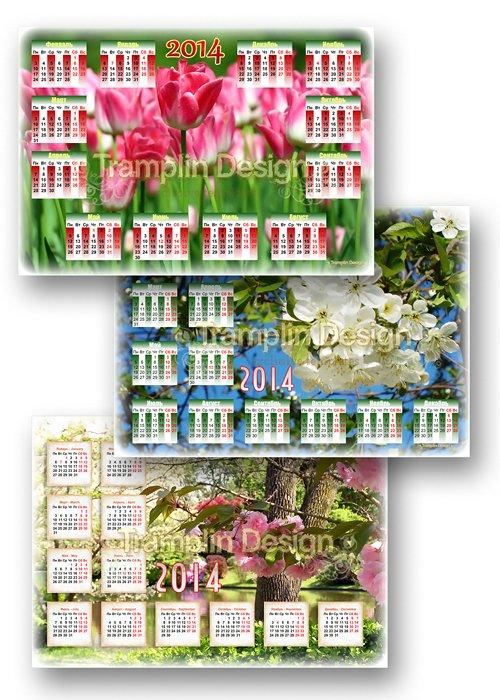 Три весенних календаря с цветами - Распускаются бутоны