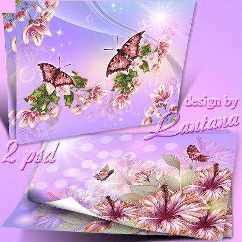 Многослойные фоны для фотошопа с цветами и бабочками