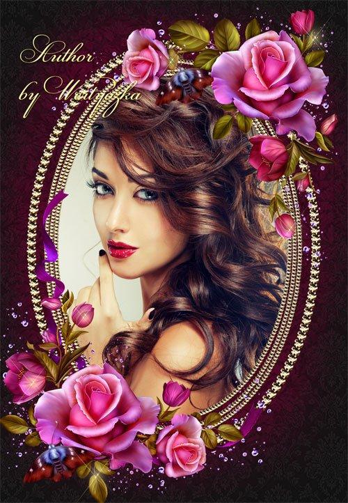 Рамка для фотошопа - Восхищают розы своей красотой