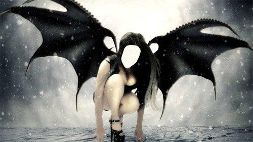 Шаблон для девушек - Темный ангел на крыльях ночи
