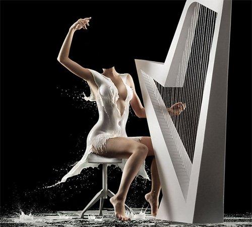 Шаблон psd женский - Игра на арфе в необычном молочном платье