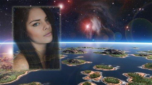 Фоторамка psd - Земля из космоса
