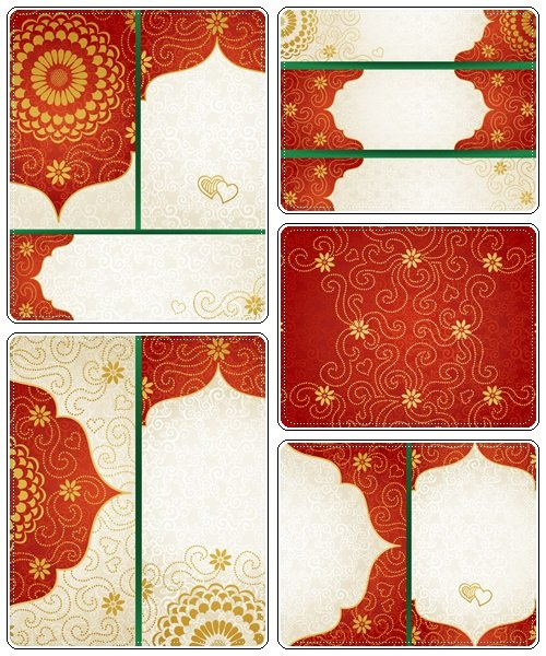 Vintage cards with flowers and curls. Background vector design - vector stock