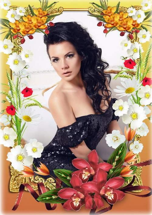Женская цветочная рамка для фото - Прелесть летнего настроения