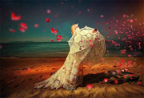 Шаблон для фото - Прогулка по берегу в белом платье с белым зонтиком