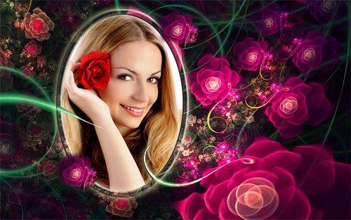 Рамка для фотошоп - Нежные розы