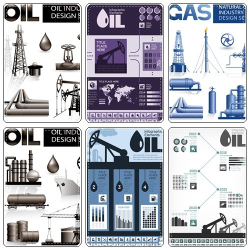 Design set of oil and natural gas industry vector images - vector stock
