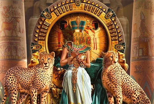 Шаблон для Photoshop - Египетская царица с 2 гепардами