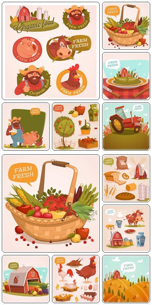 Farm fresh. Organic food. Retro style vector illustration  - vector stock