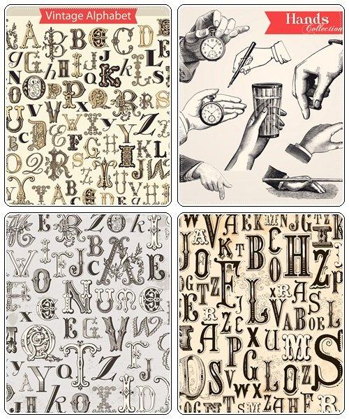 Vintage Alphabet background - vector stock