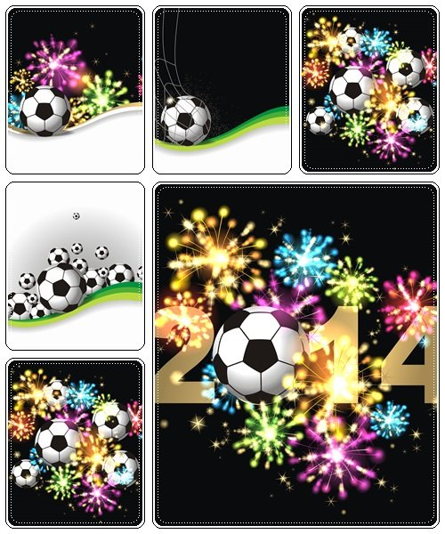 Firework and football  - vector stock