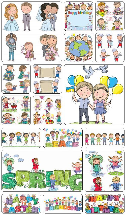 Big children collection in different situation and holidays  - vector stock