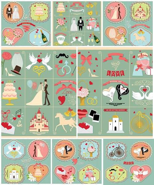 Wedding invitation retro design elements and icons - vector stock