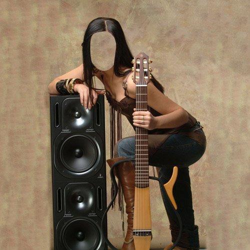 PSD шаблон для девушек - Гитаристка