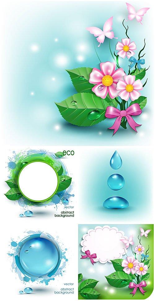 Эко фоны с цветами и бабочками, вектор / Eco background with flowers and butterflies, vector
