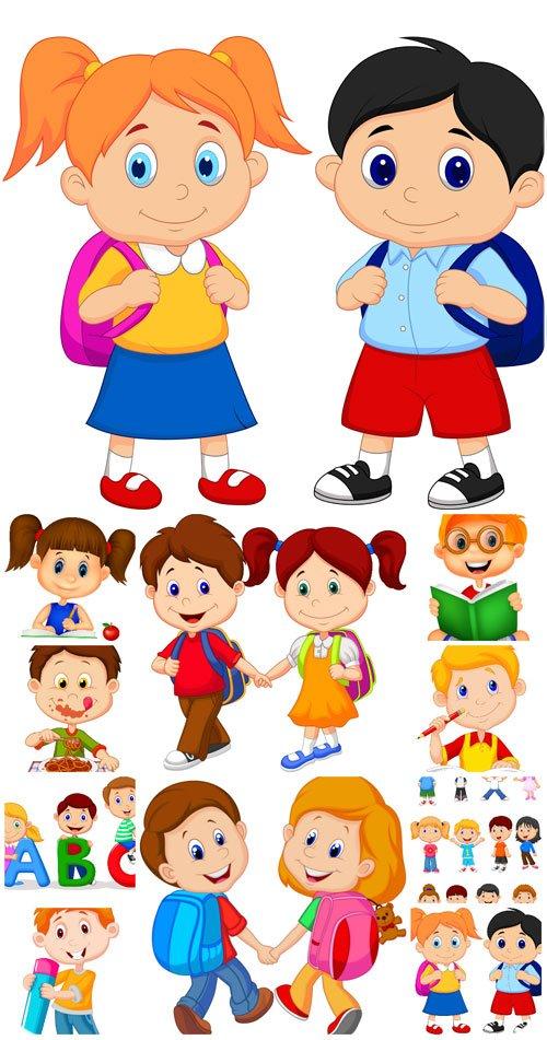 Маленькие дети в векторе, мальчики и девочки, школьники / Small children in the vector