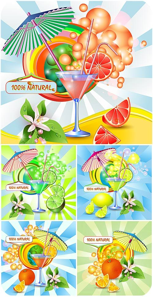 Коктейли в векторе, сок из цитруса / Cocktails in the vector of citrus juice