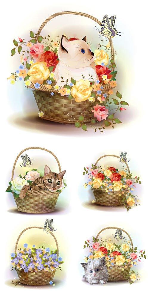 Корзины с цветами и котятами, вектор / Baskets of flowers and kittens, vector