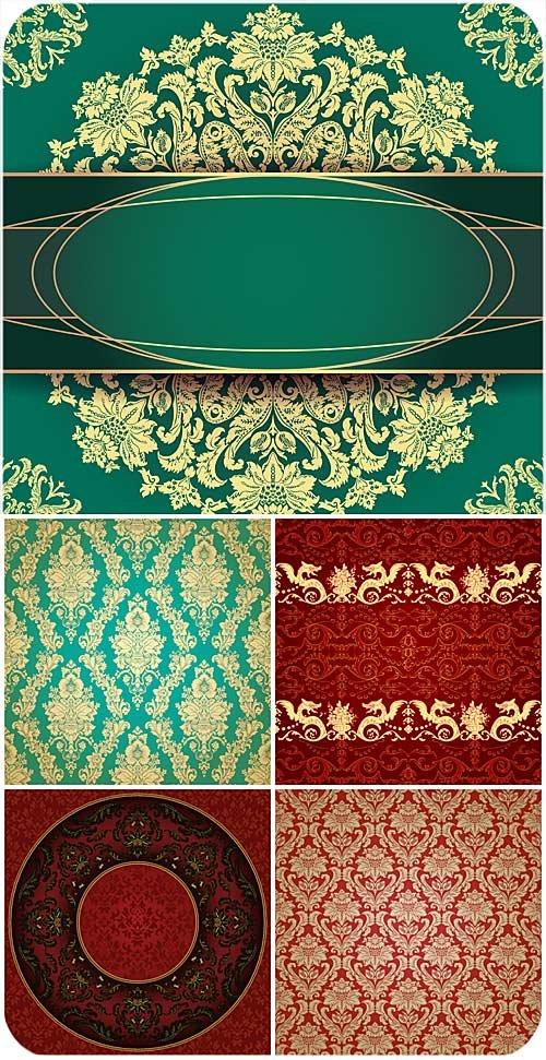 Золотые узоры, векторные красные и зеленые фоны, винтаж / Golden patterns, vector red and green backgrounds, vintage