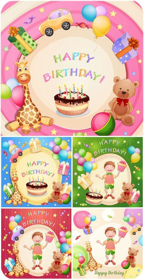 С днем рождения, векторные фоны с парздничными элементами / Happy birthday vector backgrounds