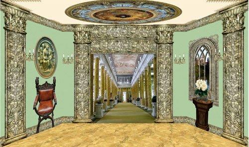 Клипарт Кукольный дворец 08Комната с колоннадой и плафоном