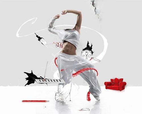 Шаблон psd женский - Нарисованный танец