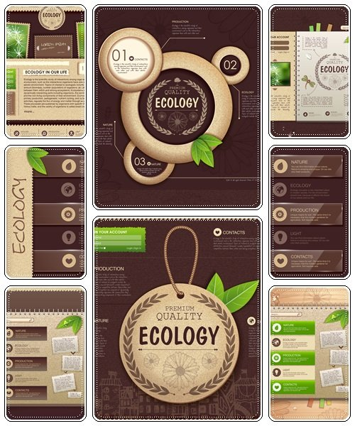 Web site design. Ecology background  - vector stock