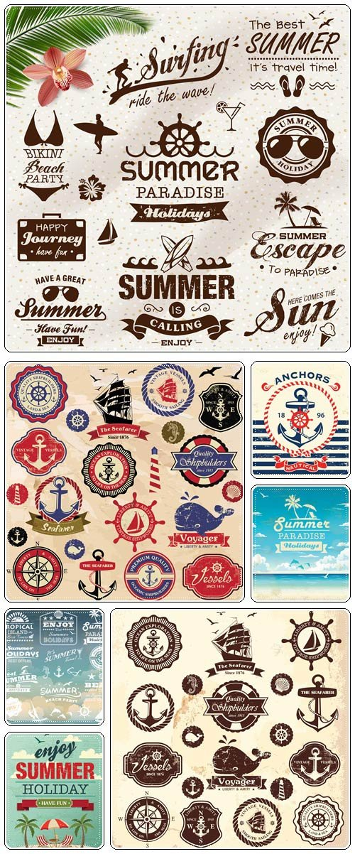 Vintage summer design with labels, icons elements collection  - vector stock