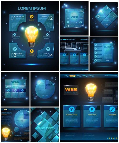 Website template design. Technology background  - vector stock