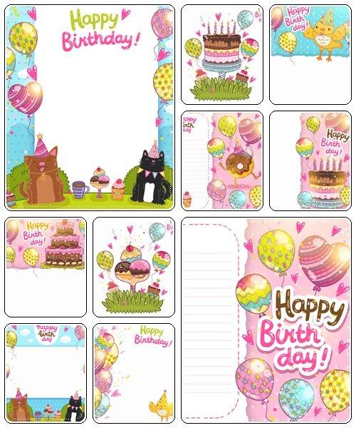 Happy birthday backgrounds, 25  - vector stock