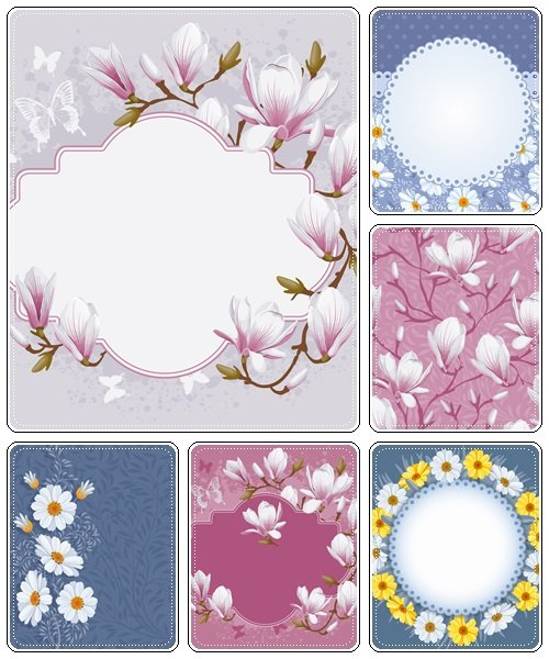 Floral frame and backgrounds  - vector stock