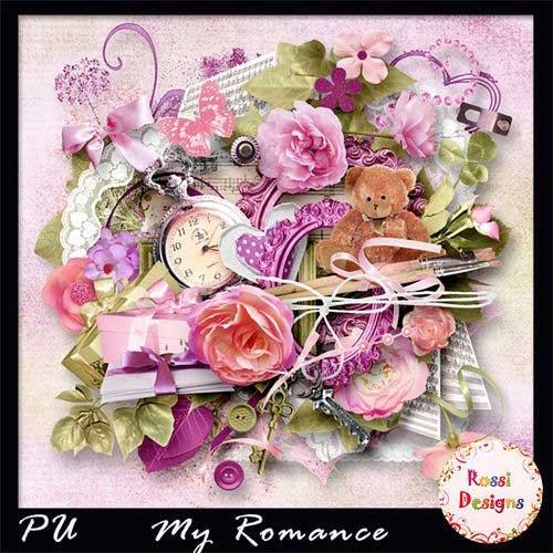 Красивый цветочный скрап-комплект - Мой романс