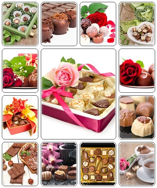 Chocolate pralines with decorations - Stock Photo