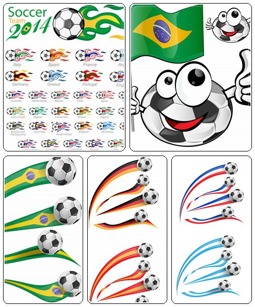 Soccer ball set with flag flame - vector stock