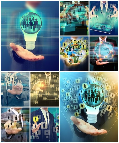 Businessman and Social Network Display - Stock Photo