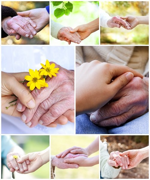 Holding hands with senior - Stock Photo